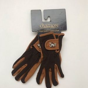 Ovation Hearts & Horses Brown Riding Gloves New